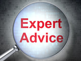 Law concept: Expert Advice with optical glass