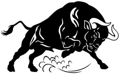 bull black white