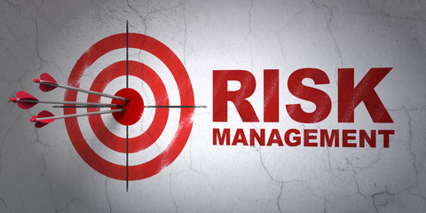 Business concept: target and Risk Management on wall background