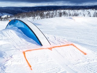 Winter fun park with rail