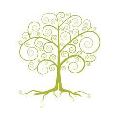 Abstract Vector Green Tree Illustration