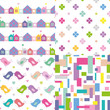 houses, flowers, love birds and abstract pattern collection