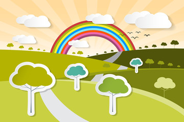 Paper Vector Nature Background with Trees, Clouds and Rainbow