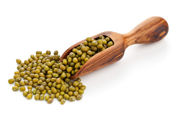 Raw mung beans in scoop