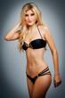 Sexy Model in Black Bikini.