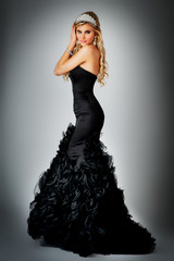 Beauty Queen in Ball Gown Dress.