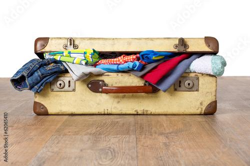 canvas print picture Übergepäck - Überfüllter Koffer