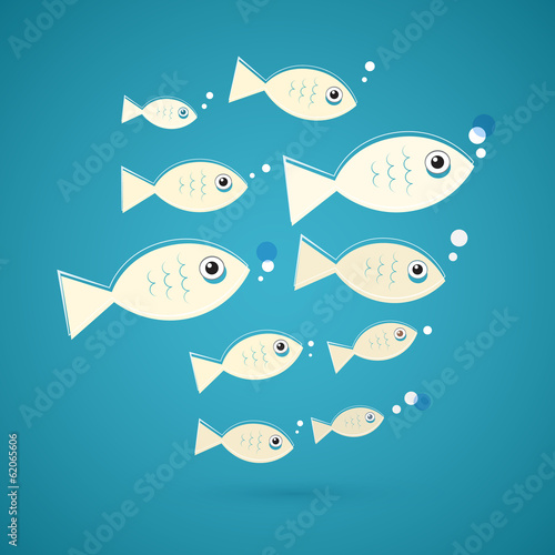 Vector Fish Illustration on Blue Background