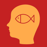 silhouette of a man's head with a fish.