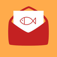 envelope with a fish.