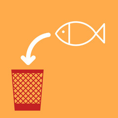 wastebasket and a fish.