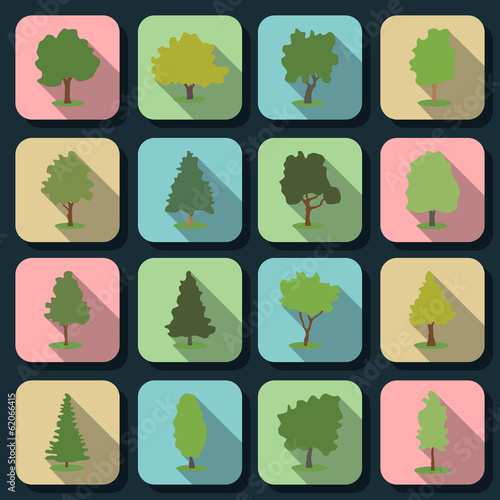 Trees flat vector icons