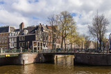 Amsterdam, Holland. Bridge over a canal in the city center