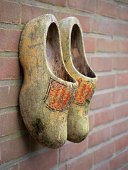 Old used Dutch clogs