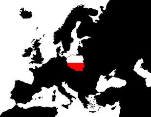 2D Europakarte schwarz/ weiß mit Polen Flagge