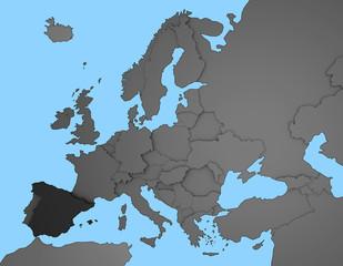 3D Europakarte blau / weiß mit Spanien in dunkelgrau