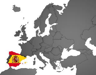 3D Europakarte grau / weiß- Spanien Flagge
