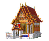 Thai Temple, isolated on the white background