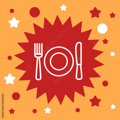star sign with a  plate, spoon, fork.