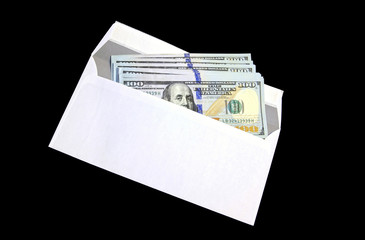 Hundred dollar bills in a white envelope