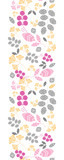 Vector abstract pink, yellow and gray leaves vertical seamless