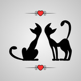 Romantic illustration silhouettes of two cats