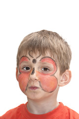 Boy with butterfly on the face. Face painting.