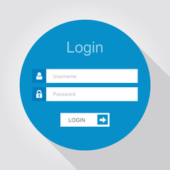 Login interface - username and password, flat design