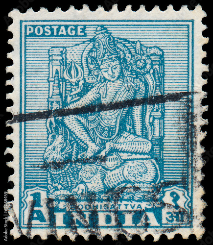 INDIA - CIRCA 1950: a stamp printed in India shows Bodhisattva,