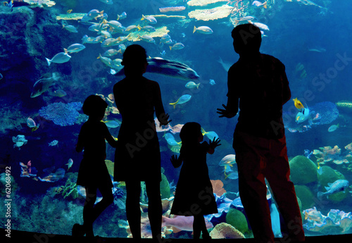 Silhouettes of family in oceanarium looking at aquarium