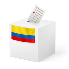 Ballot box with voting paper. Colombia