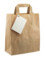 paper bag blank tag isolated