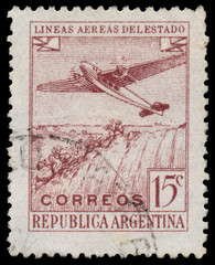 ARGENTINA - CIRCA 1946: a stamp printed in the Argentina shows P