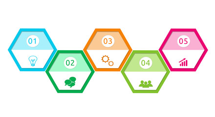 Design with hexagons shape for web, marketing or presentations