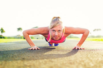 Woman doing pushup