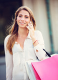 Attractive young woman shopping at the mall