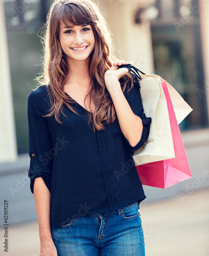 Young woman shopping at the mall