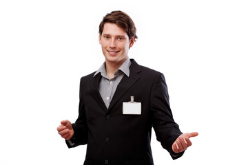 Smiling man with blank card