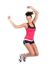 Junge Frau beim Sprung