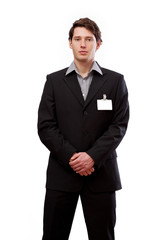 Standing man with card for text