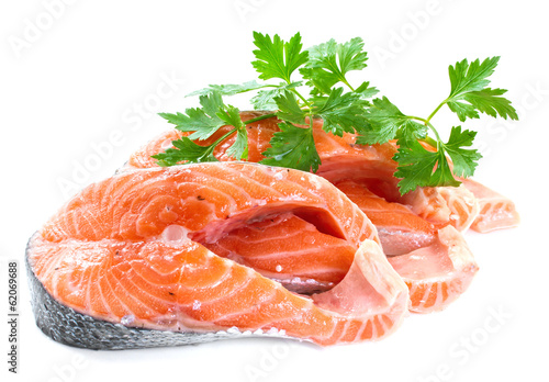 Slices of salmon, isolated on a white background.