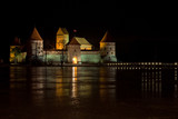 Trakai castle (Traku pilis) in Lithuania near Vilnius at night