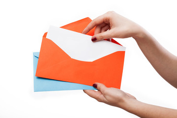 Colourful envelopes and white letter