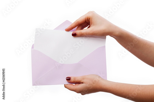 White letter in lilac envelope