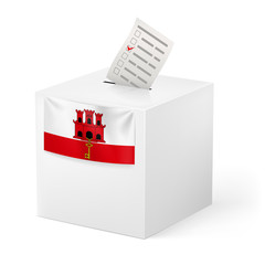 Ballot box with voting paper. Gibraltar