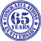 Cogratulations 65 years anniversary grunge rubber stamp, vector