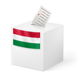 Ballot box with voting paper. Hungary