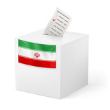 Ballot box with voting paper. Iran