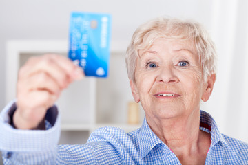 Senior lady with credit card