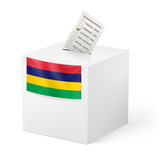 Ballot box with voting paper. Mauritius